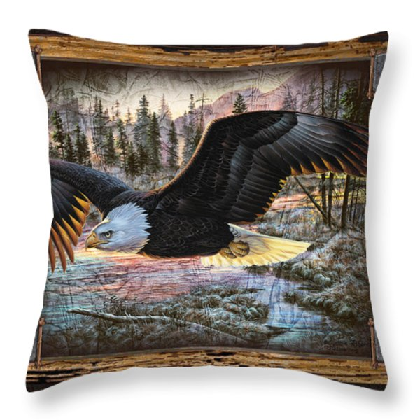 Deco Eagle Throw Pillow by JQ Licensing