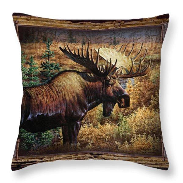 Deco Moose Throw Pillow by JQ Licensing