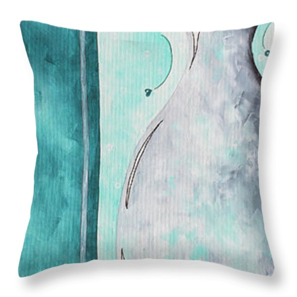 Decorative Floral Vase Painting Shabby Chic Style Relax And Unwind I By Madart Studios Throw Pillow by Megan Duncanson