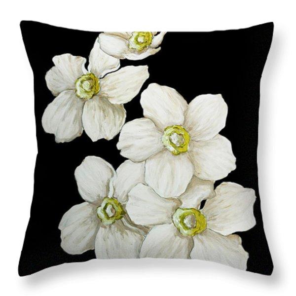 Decorative White Floral Flowers Art Original Chic Painting Madart Studios Throw Pillow by Megan Duncanson