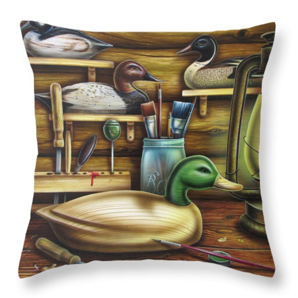 Decoy Carving Table Throw Pillow by JQ Licensing