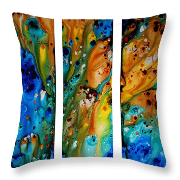 Deep Visions - Abstract Modern Contemporary Art Painting Throw Pillow by Sharon Cummings