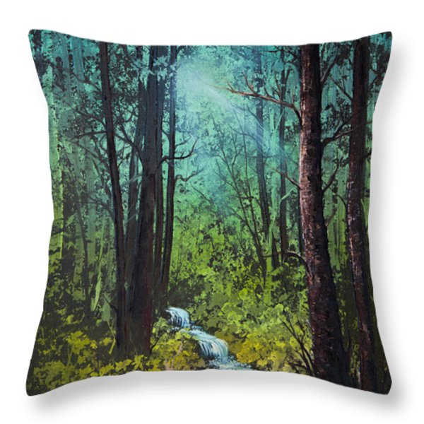 Deep Woods Stream Throw Pillow by C Steele