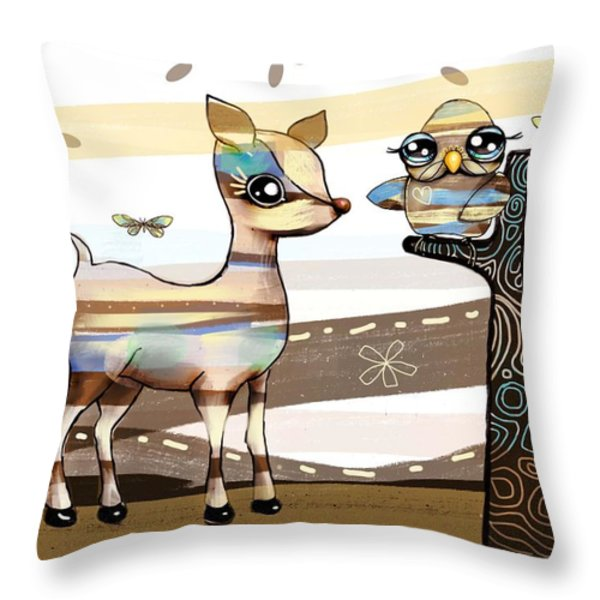 Deer And Owl Throw Pillow by Karin Taylor
