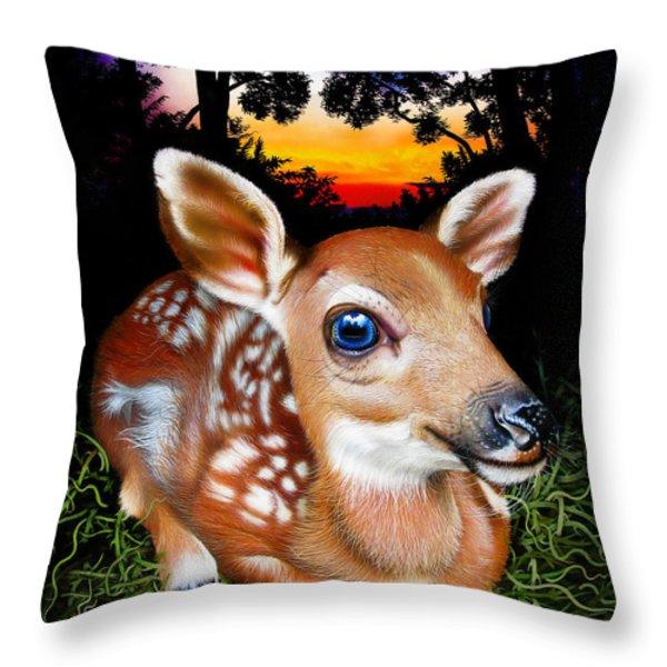 Deer Fawn Throw Pillow by Jurek Zamoyski