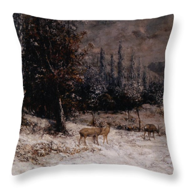 Deer In The Snow Throw Pillow by Gustave  Courbet