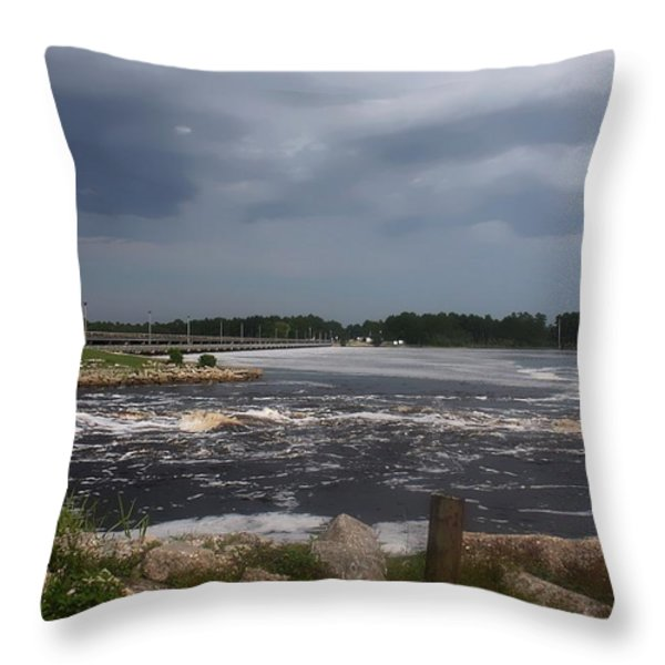Deer Point Dam Throw Pillow by Debra Forand