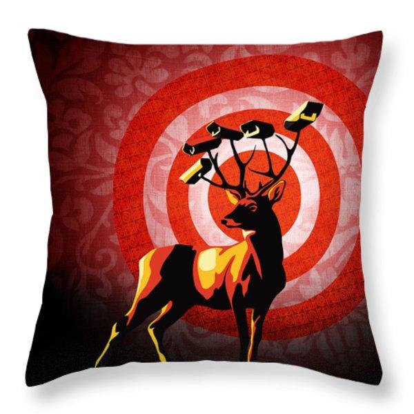 Deer Watch Throw Pillow by Sassan Filsoof