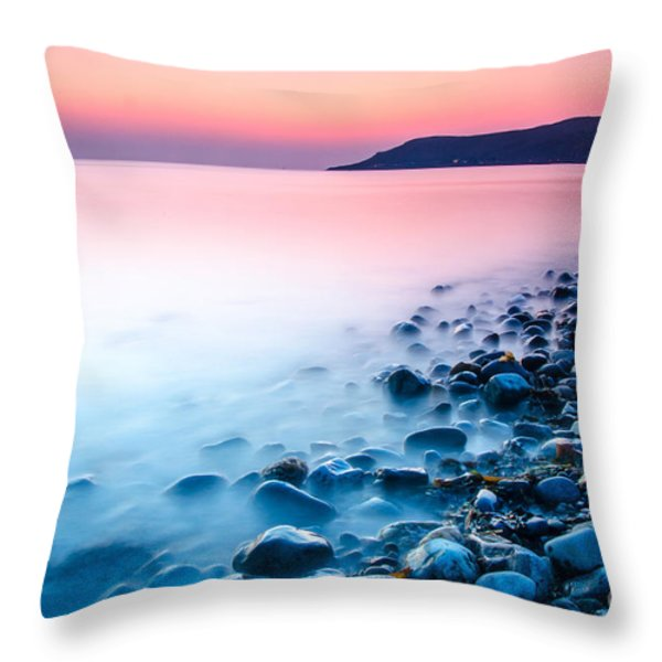 Deganwy Sunset Throw Pillow by Darren Wilkes