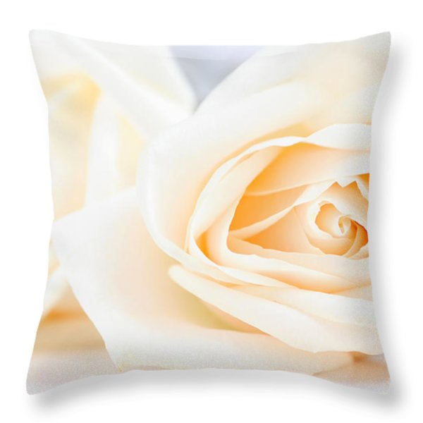 Delicate beige roses Throw Pillow by Elena Elisseeva