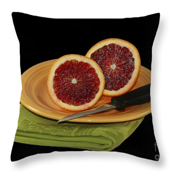 Delicious Juicy Blood Oranges Throw Pillow by Inspired Nature Photography Fine Art Photography