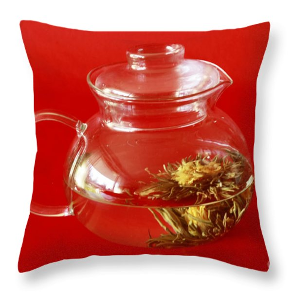 Delightful Blooming Tea Throw Pillow by Inspired Nature Photography By Shelley Myke