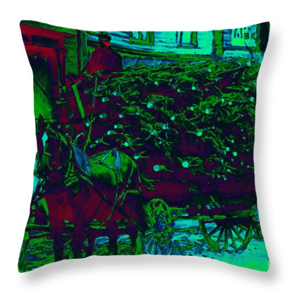 Delivering The Christmas Trees - 20130208 Throw Pillow by Wingsdomain Art and Photography