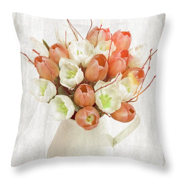 Deluxe Peach Tulips Throw Pillow by Debra  Miller