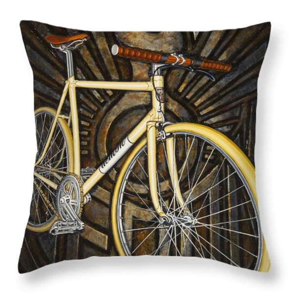 Demon path racer bicycle Throw Pillow by Mark Howard Jones