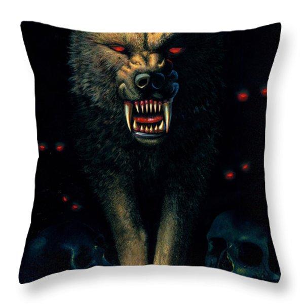 Demon Wolf Throw Pillow by MGL Studio - Chris Hiett