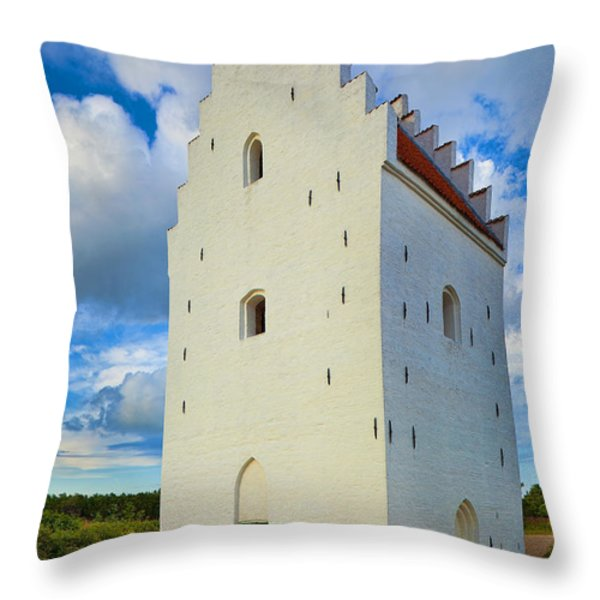 Den Tilsandede Kirke Steeple Throw Pillow by Inge Johnsson