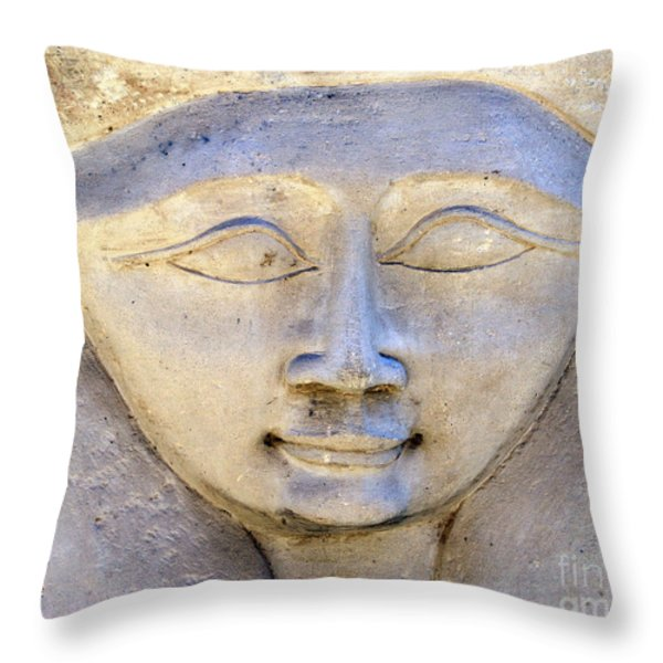 Dendara Carving 2 - Hathor Throw Pillow by Brian Raggatt