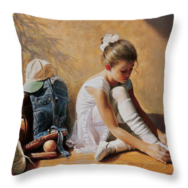 Denim to Lace Throw Pillow by Greg Olsen