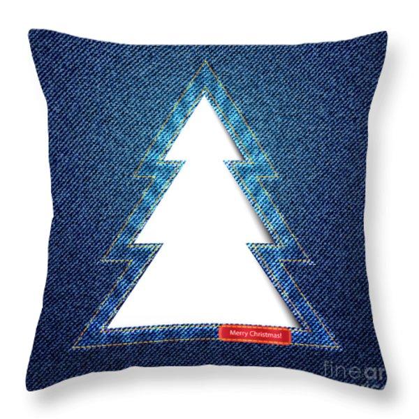 Denim tree cutout Throw Pillow by Jane Rix