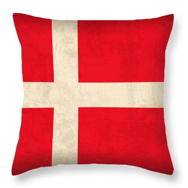 Denmark Flag Vintage Distressed Finish Throw Pillow by Design Turnpike