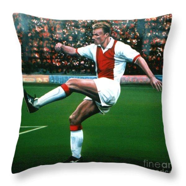Dennis Bergkamp Ajax Throw Pillow by Paul  Meijering