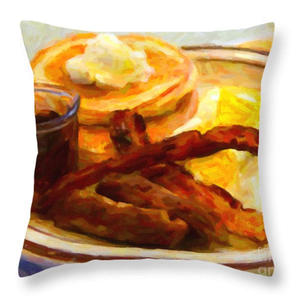 Denny's Grand Slam Breakfast - Painterly Throw Pillow by Wingsdomain Art and Photography