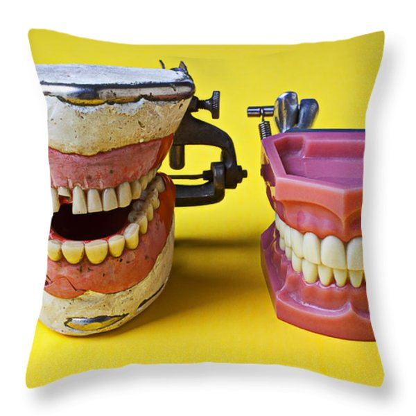 Dental Models Throw Pillow by Garry Gay
