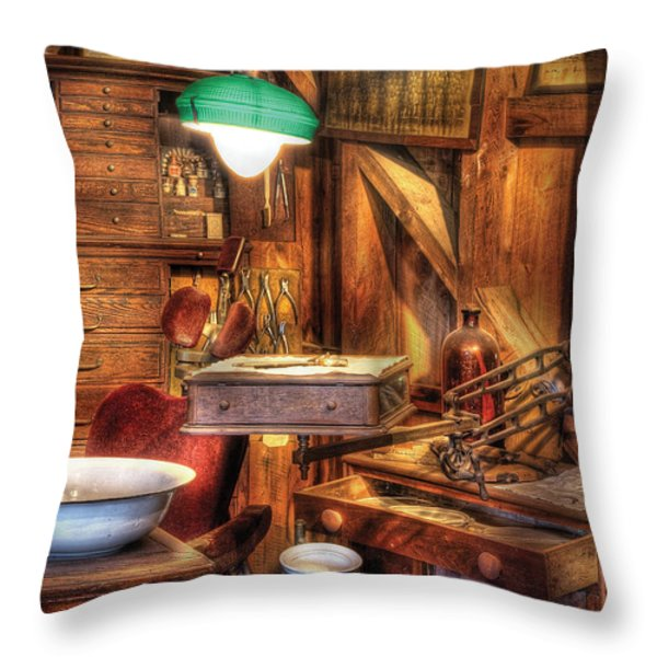 Dentist - In The Dentist's Office Throw Pillow by Mike Savad