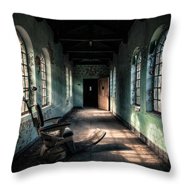 Dentists Chair In The Corridor Throw Pillow by Gary Heller