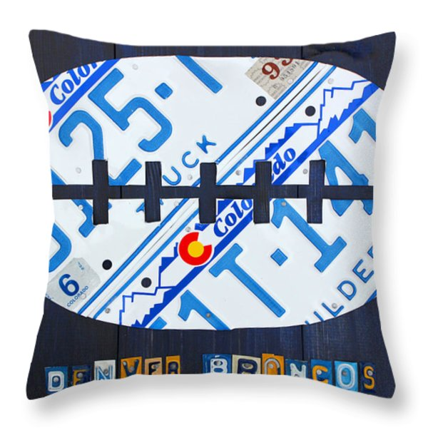 Denver Broncos Football License Plate Art Throw Pillow by Design Turnpike