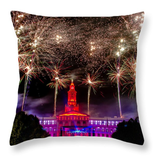 Denver Co 4th Of July Fireworks Throw Pillow by Teri Virbickis