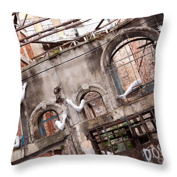 Derelict Wall Of Lost Limbs 01 Throw Pillow by Rick Piper Photography