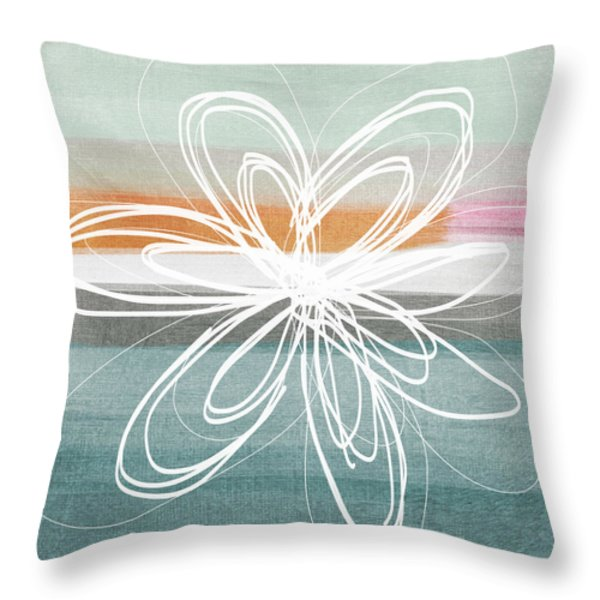 Desert Flower- Contemporary abstract flower painting Throw Pillow by Linda Woods