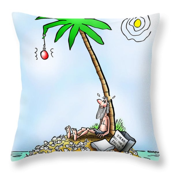 Desert Island Christmas Throw Pillow by Mark Armstrong