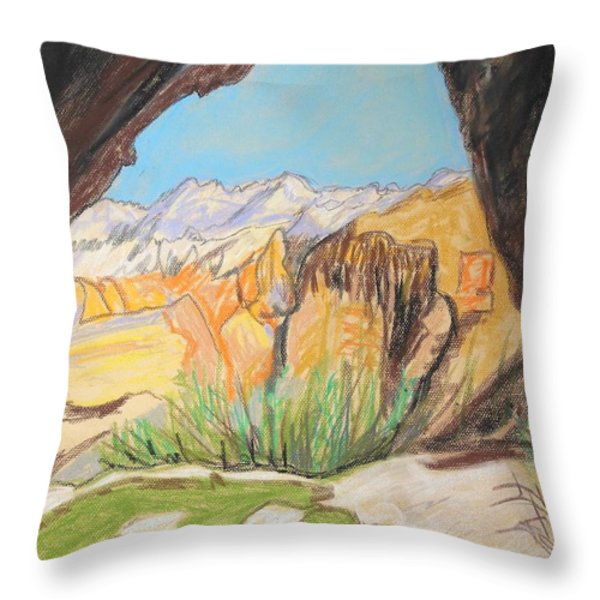 Desert View from the Cave Throw Pillow by Esther Newman-Cohen