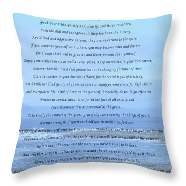 Desiderata On Beach And Ocean Scene Throw Pillow by Barbara Griffin