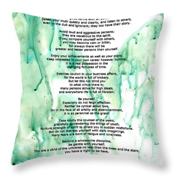 Desiderata - Words of Wisdom Throw Pillow by Sharon Cummings