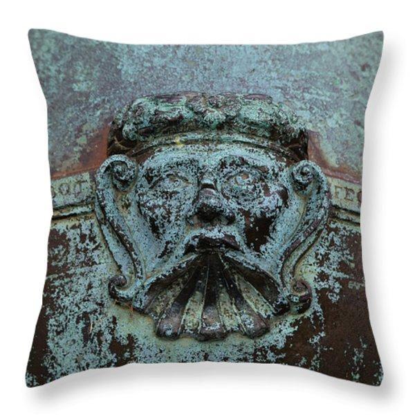 Detail Of A Bronze Mortar Throw Pillow by Edward Fielding
