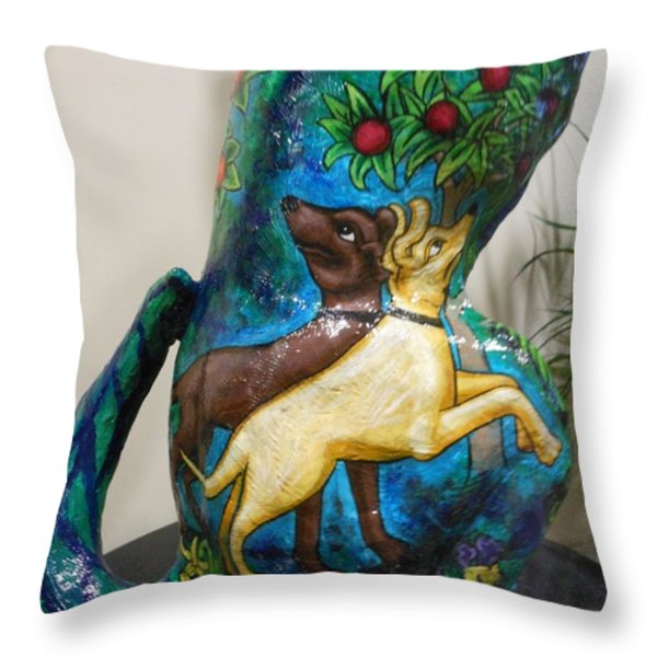 Detail of Hunt For The Unicorn On A Full Moon Throw Pillow by Genevieve Esson