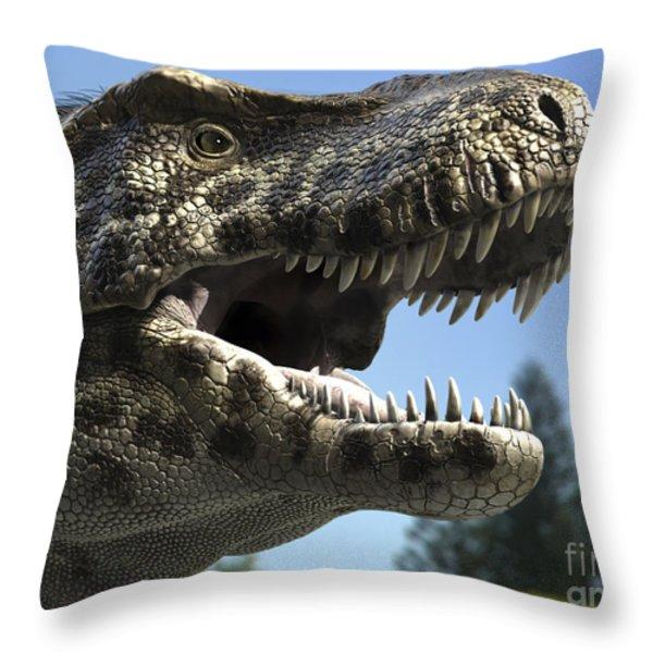 Detailed Headshot Of Tyrannosaurus Rex Throw Pillow by Rodolfo Nogueira