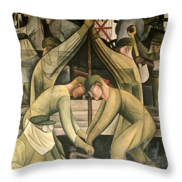 Detroit Industry  South Wall Throw Pillow by Diego Rivera