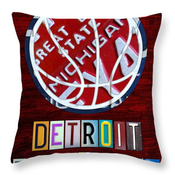 Detroit Pistons Basketball Vintage License Plate Art Throw Pillow by Design Turnpike