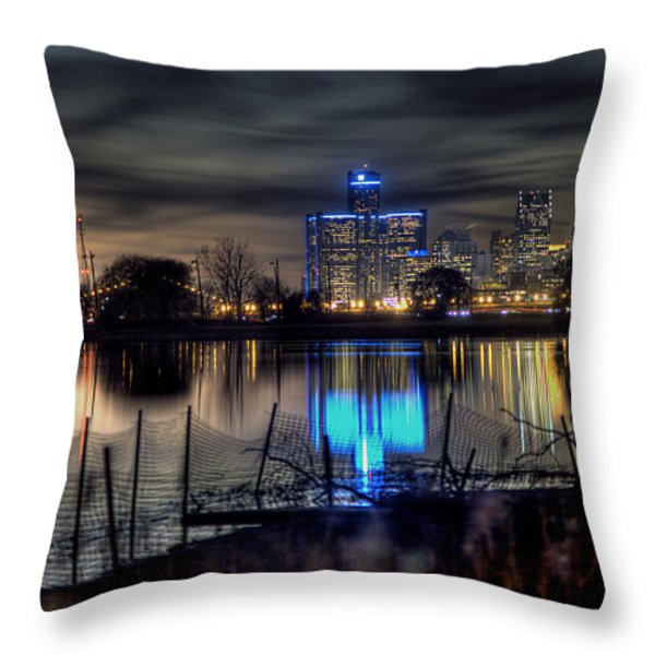 Detroit Reflections Throw Pillow by Nicholas  Grunas