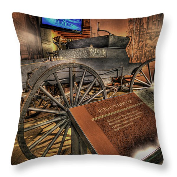Detroits First Car Throw Pillow by Nicholas  Grunas