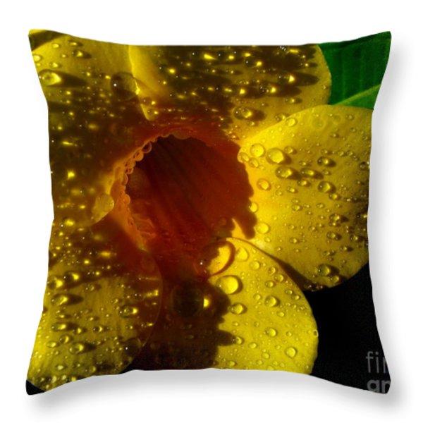Dew Trumpet Throw Pillow by Greg Patzer