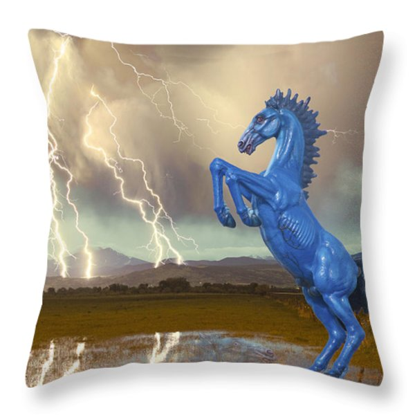 Dia Mustang Bronco Lightning Storm Throw Pillow by James BO  Insogna