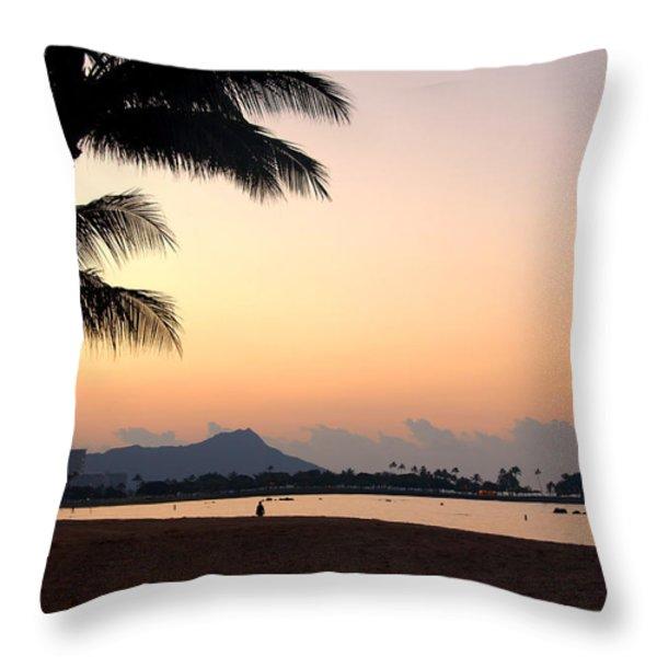 Diamond Head Sunrise - Honolulu Hawaii Throw Pillow by Brian Harig