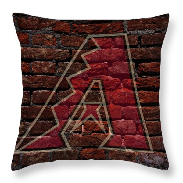Diamondbacks Baseball Graffiti on Brick  Throw Pillow by Movie Poster Prints