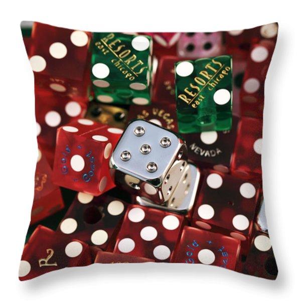 Dice Throw Pillow by John Rizzuto